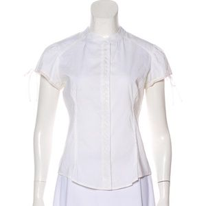 White Short Sleeve with Pleating and Buttons